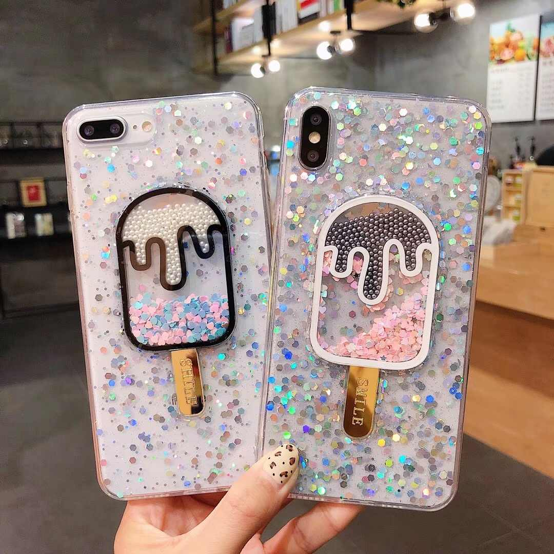 Liquid Heart Glitter Powder Smile Face Clouds Phone Cases For iPhone X XR XS Max 6 6S 7 8 Plus Ice Cream Soft Dynamic Back Cover