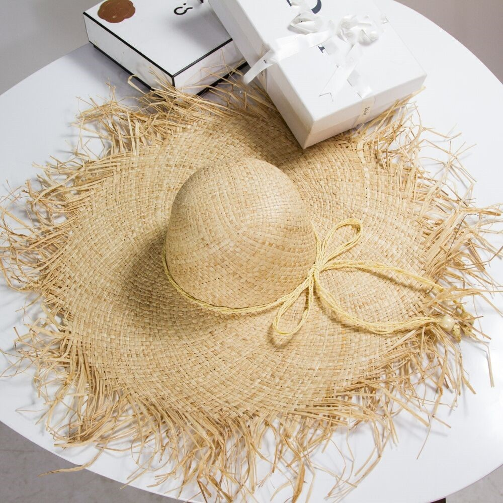Summer New Hairy Eaves Lafite Straw Hat Ladies Summer Tide Beach Hat Beach Holiday Sunscreen Shade Hat Tide