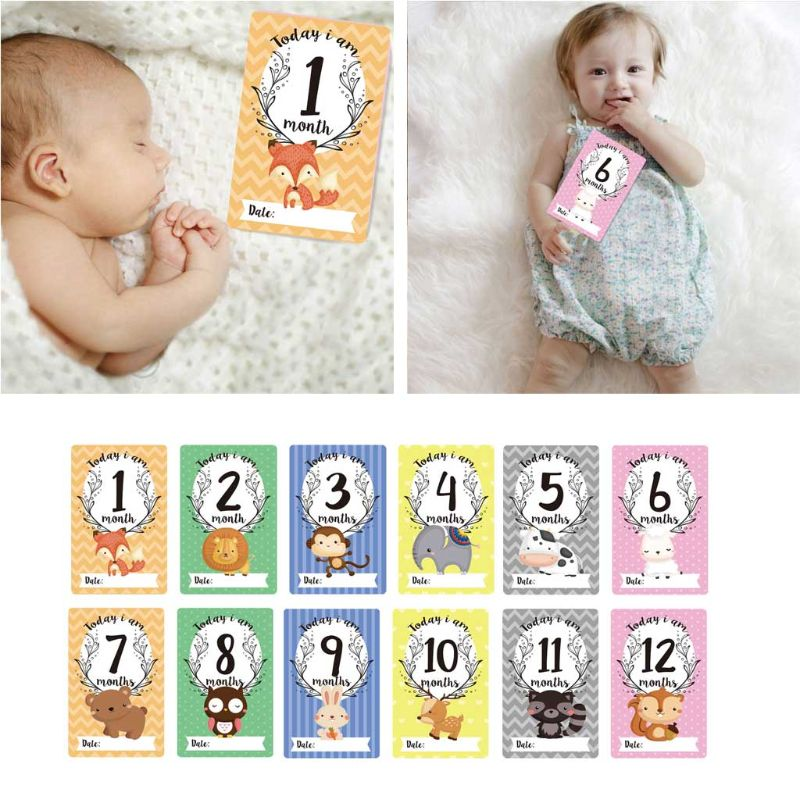 12 Sheet Milestone Photo Sharing Cards Gift Set Baby Age Cards - Baby Milestone Cards, Baby Photo Cards - Newborn Photo Y51E