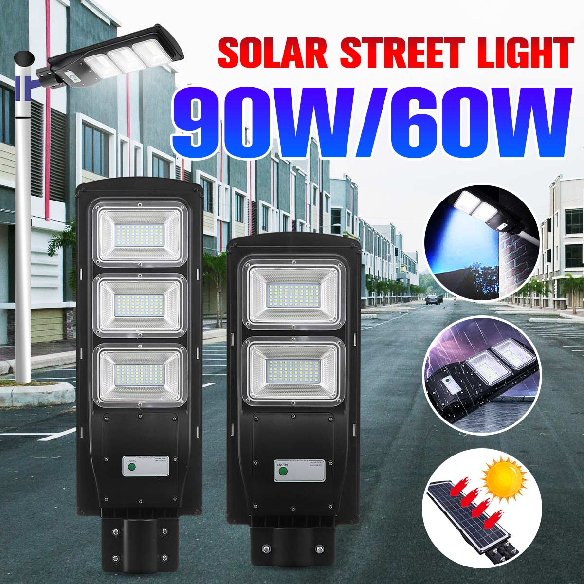 60W 90W LED Solar Street Light Radar With PIR Motion Sensor Outdoor Lighting IP67 Wall Lamps Solar Landscape Garden Lights
