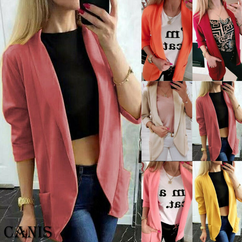 Women Casual Jacket Autumn Long Sleeve OL Slim Fit Blazer Suit Jacket Coat Outwear Slim Formal Blazer Plus Size 2XL Cardigan Hot