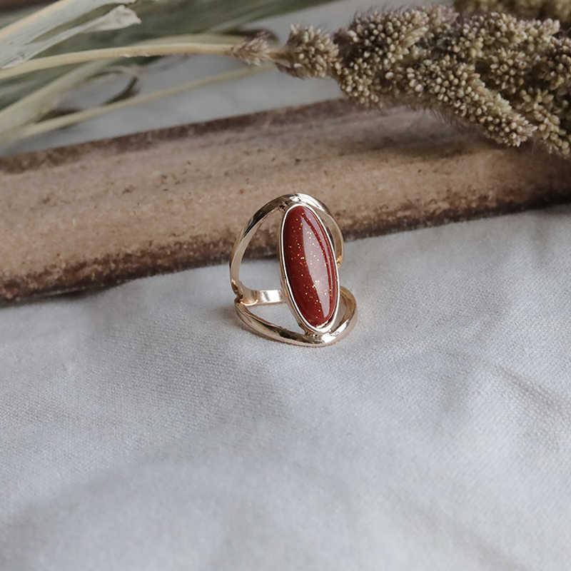 Peri'sBox คู่ Goldstone แหวนเรขาคณิตบางรูปไข่สีแดงหินแหวนทองสำหรับสตรี VINTAGE Layered ซ้อนแหวน 2019