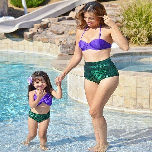 Women/'s Swimwear Bandage Bikini Set Push-up Mermaid Bra Swimsuit Shell Bathing