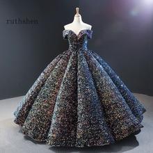 夢のようなスパンコールイブニングドレスロングオフショルダーふわふわ高級プリンセスフォーマルパーティーウエディングドレス