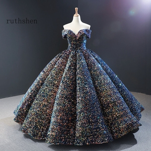 Image 1 - Dreamy Sequin Evening Dresses Long Off Shoulder Fluffy Luxury Princess Formal Party Prom Dress