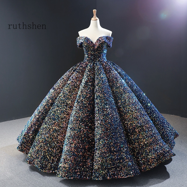 Dreamy Sequin Evening Dresses Long Off Shoulder Fluffy Luxury Princess Formal Party Prom Dress