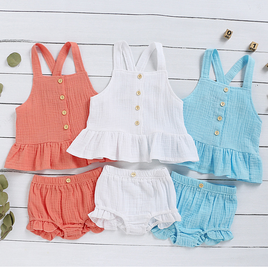 2020 Baby Summer Clothing Newborn Kids Baby Boy Girl Clothes Cotton&Linen Tops+Shorts Pants Solid 2pcs Sleeveless Outfits Sets