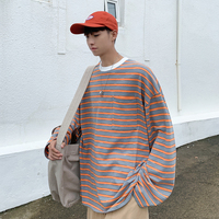 2019 Autumn Casual Hit Color Stripe Concise Round Neck Long Sleeve Men T Shirt Leisure Harajuku Cotton Loose T shirt S XL