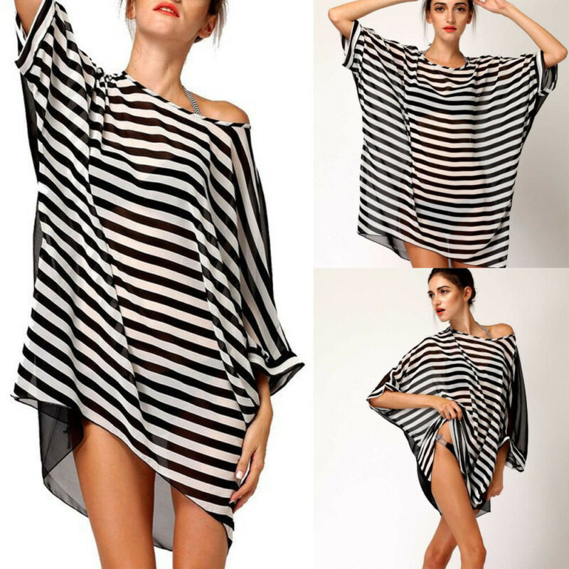 Stylish Striped Beach Swimsuit Chiffon Sexy Round Neck Perspective Chiffon Cover Ups in Cover Ups from Sports Entertainment