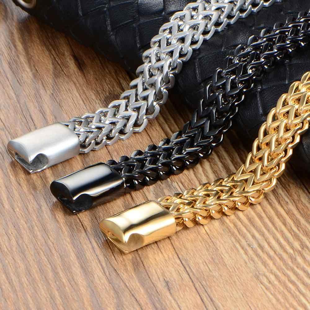 12MM רחב 20CM אורך גברים של צמיד לא יימוג כסף צבע עבה נירוסטה צמיד גברים צמידי תכשיטים armband