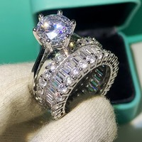 2pcs Couple Rings Luxury Jewelry 925 Sterling Silver White Clear AAAAA Cubic Zircon Promise Women Wedding Bridal Ring Set Gift