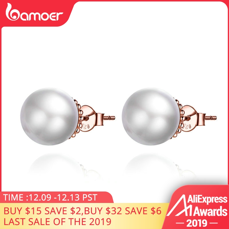 BAMOER HOT SALE 925 Sterling Silver White Shell Pearl Stud Earrings For Women Ear Pin 925 Anti Allergic Female Jewelry SCE609