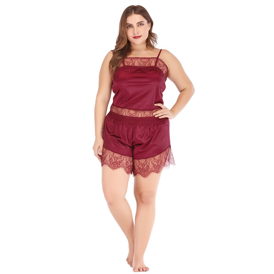 Wish Amazon Hot Selling Europe And America Large Size WOMEN'S Dressing Gown Lace Suspender Shorts Plus-sized Pajamas 1073