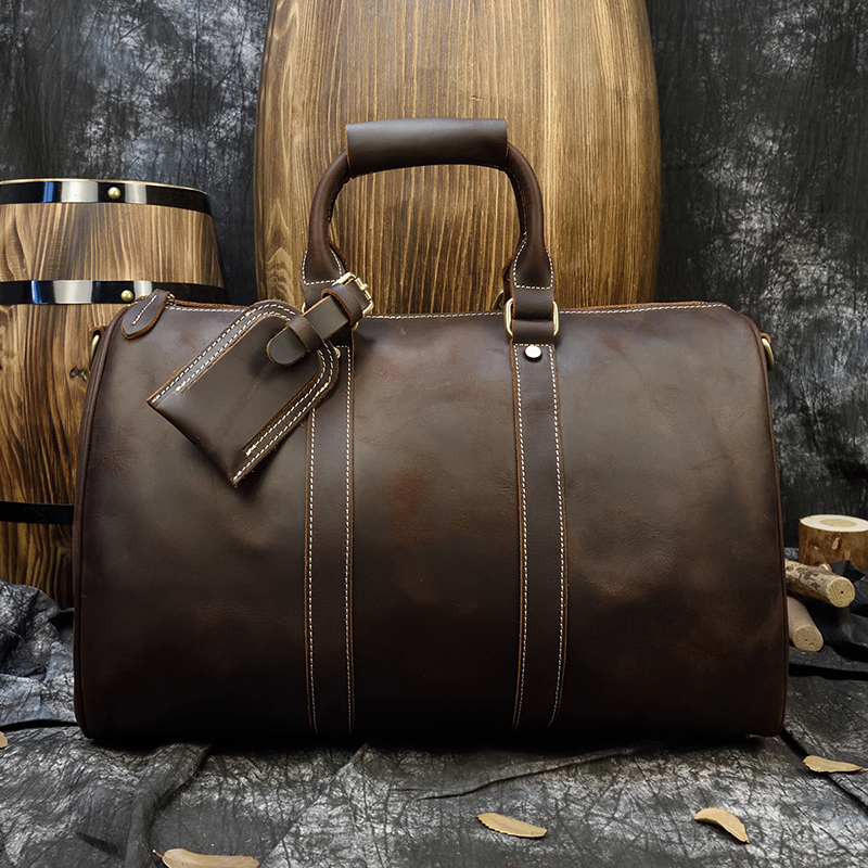 Luufan Genuine Leather Travel Handbags Real Cowskin Travelling Bag Weekend Duffle Bag