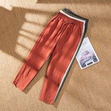 Mulher verão harem calças vintage cores doces algodão linho perna larga calças sólido elástico na cintura tornozelo-comprimento capris