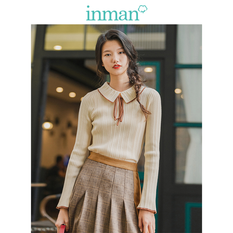 INMAN Winter Literary Slim Knitted Doll Neck Bow Women Pullover