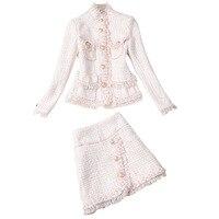 Tweed Two Piece Set Single breasted Beaded Jacket + Tassel Mini Skirt Pink Elegant Temperament Chic Women Suit 2019 New