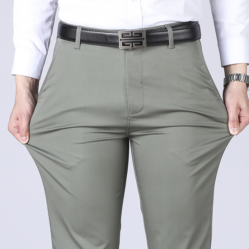 Men's Trousers Middle-aged Men Trousers Thin Casual Loose Pant Solid Color High Waist Man Trouser Pants for Male Large Size 40