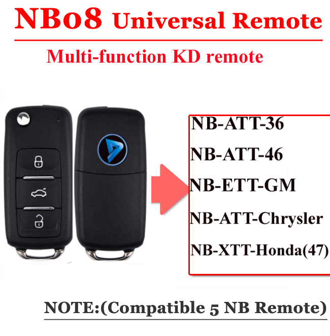 Free Shipping (1 Piece)NB08 Universal Multi-functional Kd Remote 3 Button NB Series Key For KD900 URG200 Remote Master