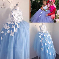 Light Blue Puffy Tulle Baby Girl Birthday Party Dress with 3D Butterflies O Neck Kids Children Clothes for Christmas