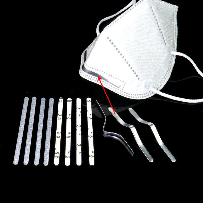 100Pcs Adjustable Elastic Cord Nose Bridge Clips For Face Mask Aluminum Lanyard Mouth Mask Straps Diy Making