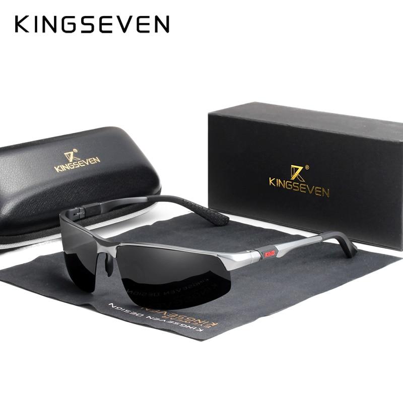 KINGSEVEN Driving Series Polarized Men Aluminum Sunglasses Blue Mirror Lens Male Sun Glasses Aviation Women For Men Eyewear 9121 4
