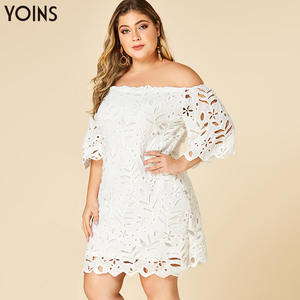 YOINS Lace Dress Half-Sleeves Bodycon Female Elegant White Off-Shoulder Hollow Plus-Size