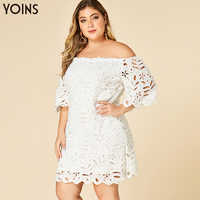 YOINS 2020 Spring Summer Women Plus Size Bodycon White Lace Dress Off Shoulder Half Sleeves Female Elegant Hollow Mini Dresses