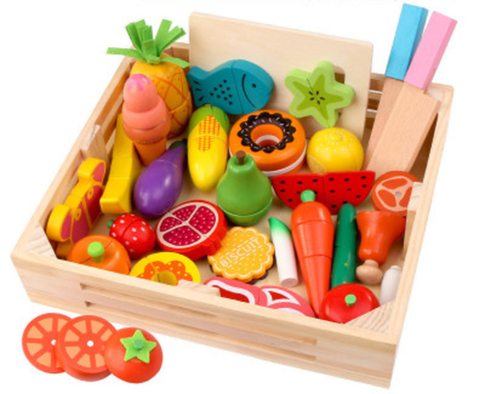 15 styles Wooden simulation egg kitchen series cut fruits and vegetables dessert children's educational play house toys