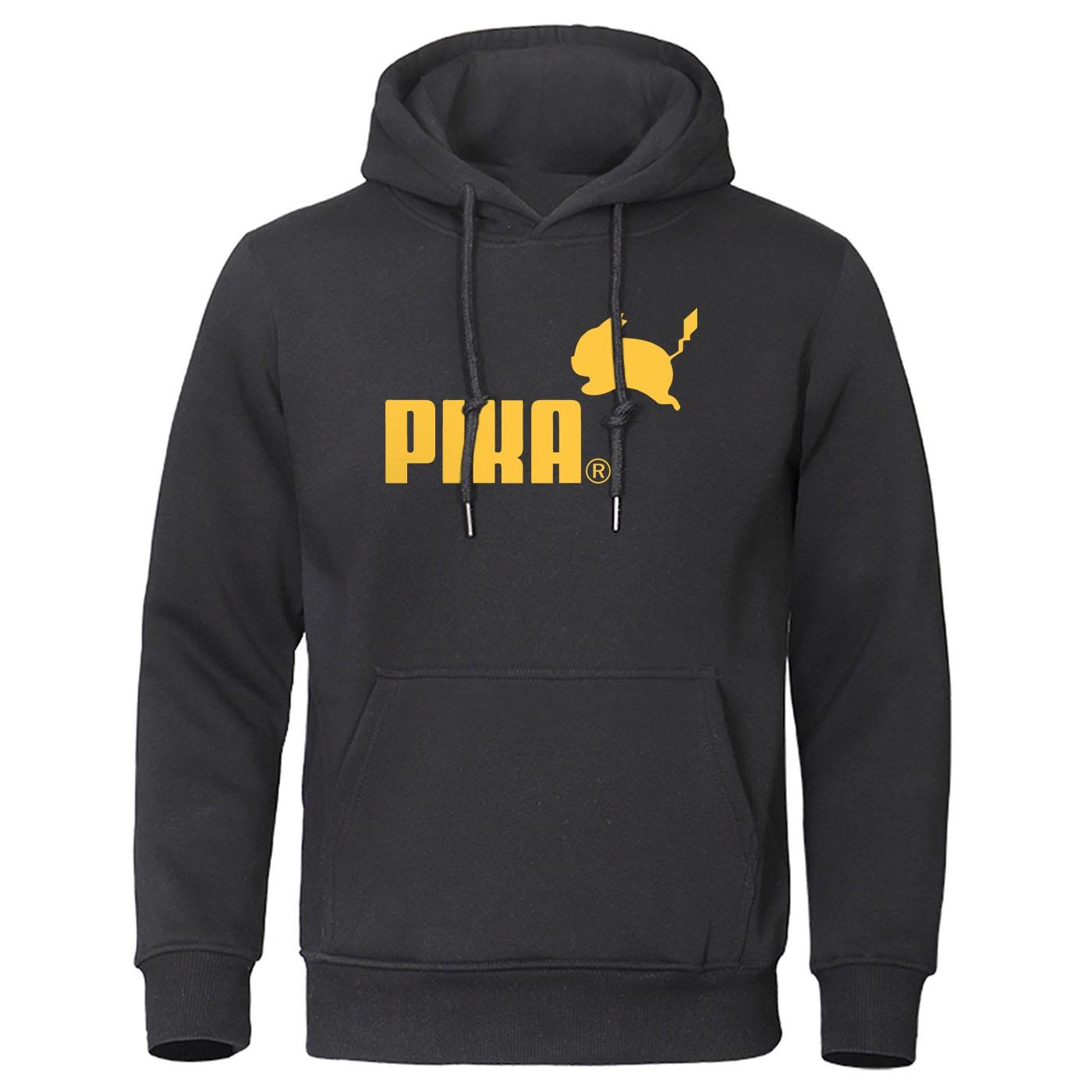 2019 Autumn Pika Hoodies Japanese Anime Pokemon Men Pullover Pikachu Boy Sweatshirt Fleece Warm Men's Casual Streetwear Hoody