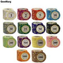 Poker-Chip-Set Dollar Texas Casino Coins Customizable Las Clay 10pcs/Lot Clay-Material