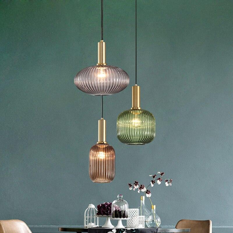 Nordic Modern Glass Pendant Lights Fixtures For Dining Room Bar Restaurant Deco Hanging Lamp Bedside Suspension Lighting