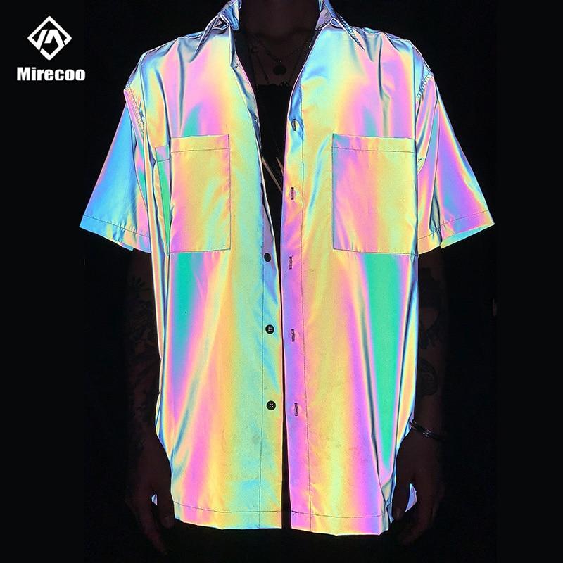 2020 Laser Rainbow Reflective Mens Shirt Pocket Beach Shirts Men Harajuku Punk Rock Hip Hop Mens Shirt Streetwear Tops Clothes