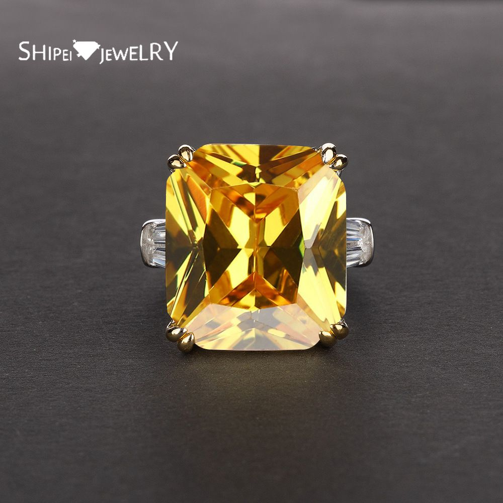 Shipei 100% 925 Sterling Silver Gemstone Ring Fine Jewelry Luxury Created Moissanite Citrine Ruby Emerald Wedding Ring Gift