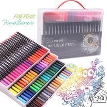 Fineliners-bolígrafos de colores para colorear, juego de bolígrafos para dibujar y escribir, 80 colores