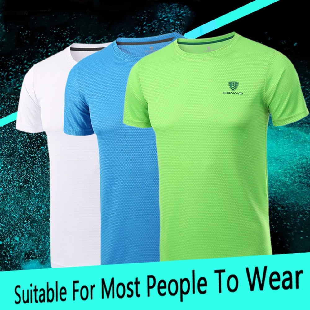 Fannai Men's Sportswear Running Shirt Men Sport T-shirt Outdoor Jogging Tops Gym Loose Training Short Sleeve Shirt