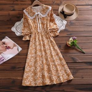 Image 5 - Mori Girl Sweet Dress Korean Fashion Autumn Women Floral Print Long Dresses Female Long Sleeve Dress vestidos de verano 2020