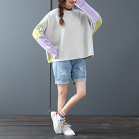 2019 Autumn New Arrival Korean Style Fashion Hit Color Long sleeved T shirt Female T Shirt Loose T Shirt Free Shipping