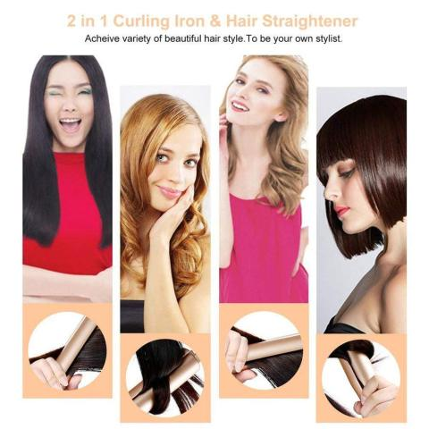 2-in-1 Twist Hair Curling & Straightening Iron Hair Straightener Hair Curler Curling Iron Wet & Dry Hair Styler Styling Tools Lahore