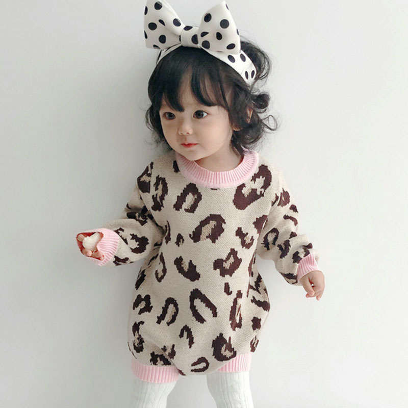 Baby Girl Bodysuit 100% Cotton Leopard Autumn Newborn Baby Clothing Girl Jumpsuit Knitted Baby Clothes Baby Girl Sweater 5