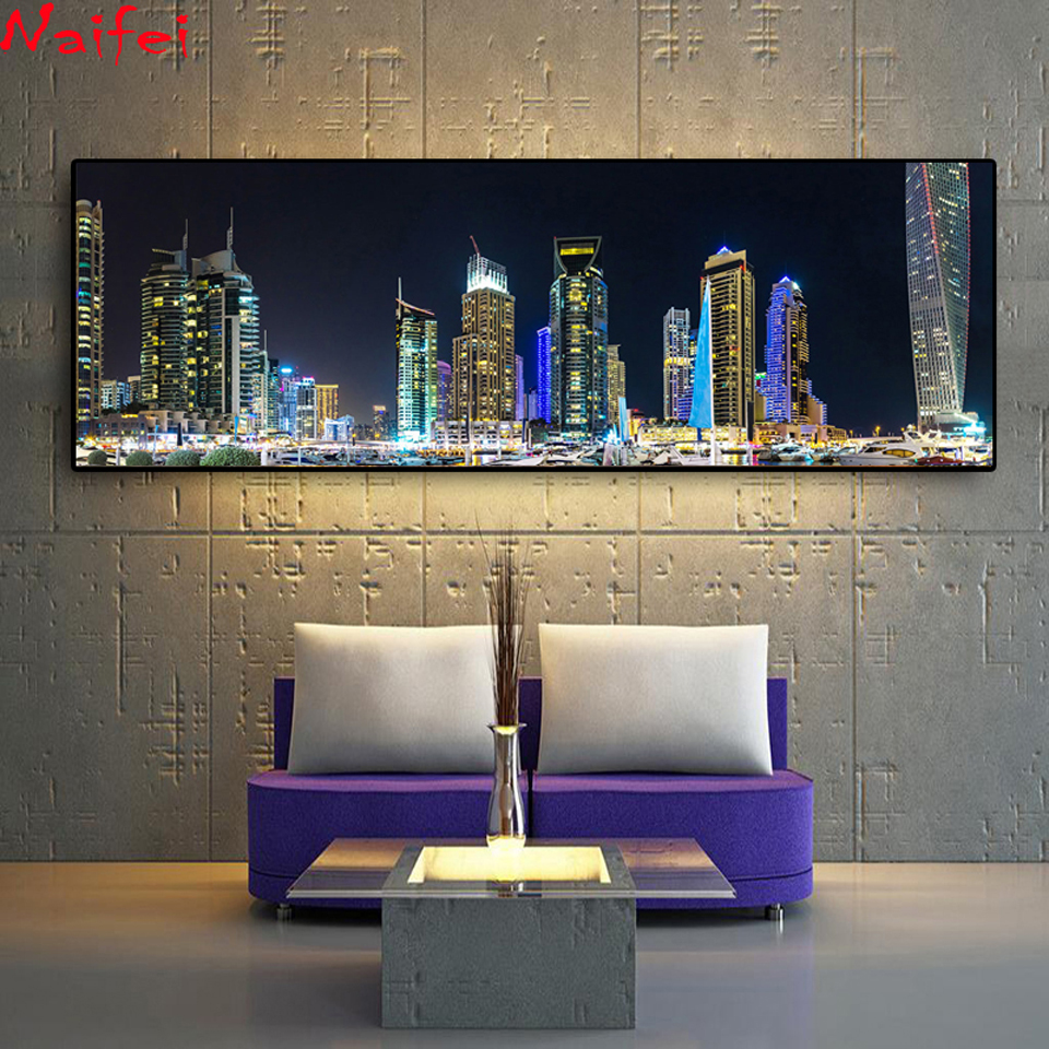 5D DIY Diamond Embroidery Emirates UAE Dubai Houses Marinas Night Landscape Diamond Painting Cross Stitch Full Drill Gift-3