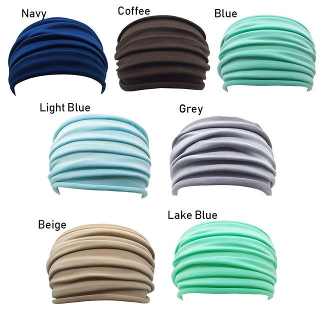 13 Colors Nonslip Elastic Folds Yoga Hairband Fashion Wide Sports Headband Running Accessories Summer Stretch Hair Band 4
