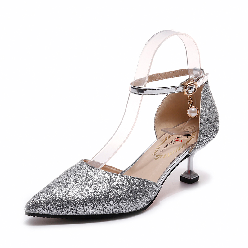 Rimocy elegant ladies shinning glitter gold silver pumps 2019 sexy pointed toe high heels ankle strap wedding party shoes woman 5