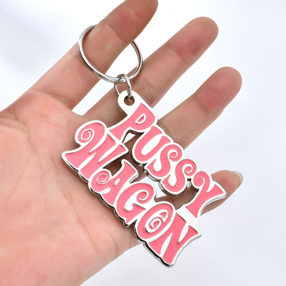 Zinc Alloy PUSSY WAGON Keychain Pink Letter Key Chains For Woman Bags Cool Keyring For Man Fashion Key Ring Holder Accessories