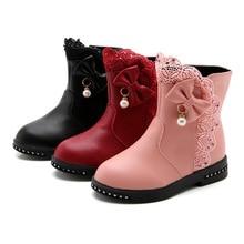 Autumn Winter New Princess Bow Lace Leather Boots Fashion Snowboots Girls Kids Ankle Boots Child Shoes 4 5 6 7 8 9 10 11 12 Year цена в Москве и Питере