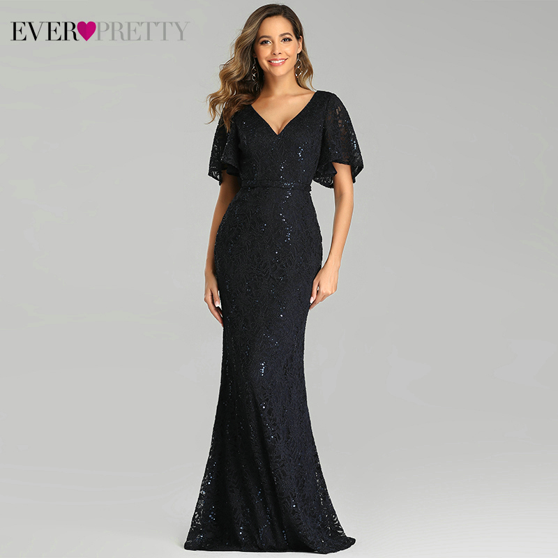 Sexy Lace Prom Dresses Ever Pretty EP00688NB Sequined Short Sleeve Double V-Neck Sparkle Mermaid Party Gowns Vestidos De Gala