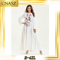 Kaftan Marocain Abaya Femme Musulman Robe Long Sleeved White Print Embroidery Multilayer Folds Stitching Large Swing Dress