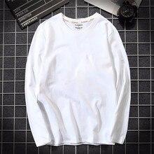 2019 outono dos homens t camisa 100% algodão manga longa magro camiseta masculina cor pura de alta qualidade casual camisa branca plus size 5xl
