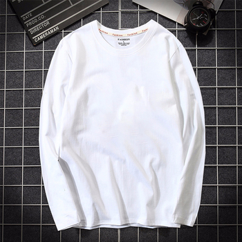2019 Autumn Mens T shirt 100% Cotton Long Sleeve Slim T-shirt Male Pure color High-Quality casual tee shirt white Plus size 5XL plus size 5xl environmental commemorative shirt for men good quality long sleeve casual dress shirt male