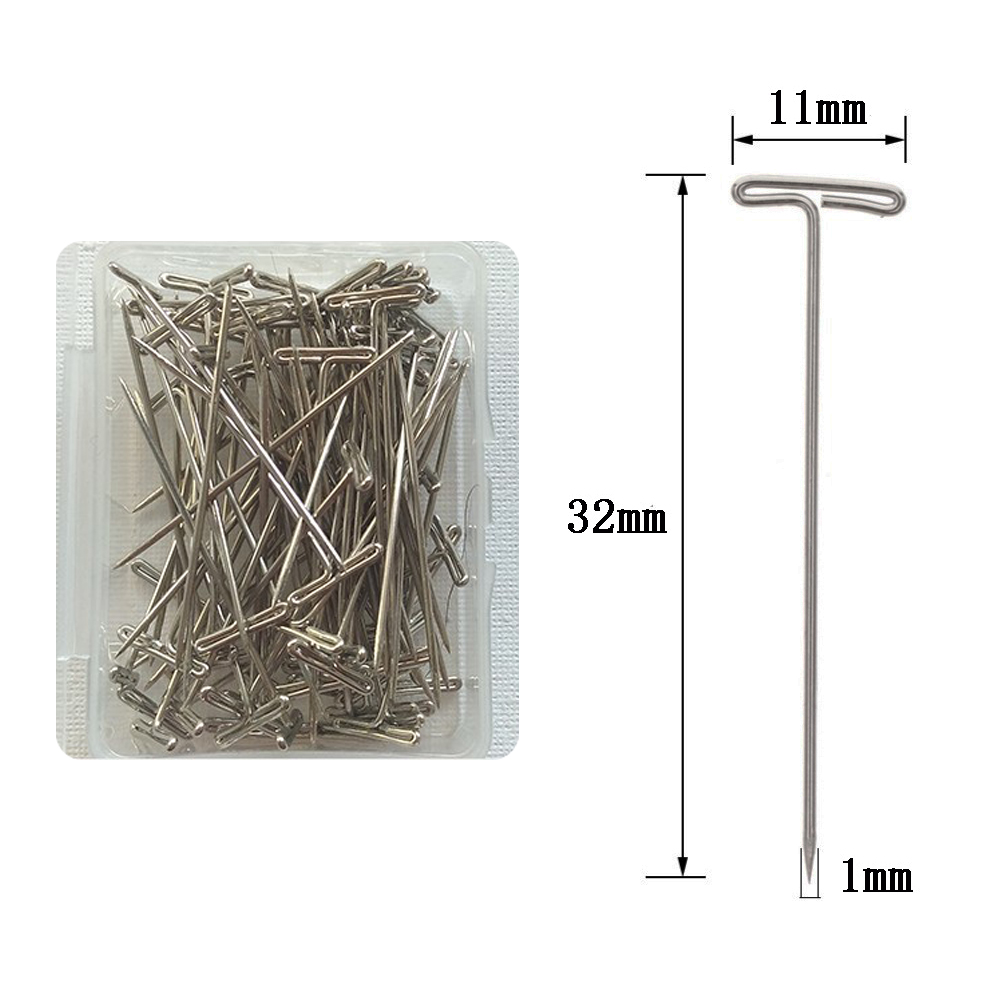 100Pcs Metal 32mm Silver T Pins For Modelling Macrame Wigs Sewing Craft 100pcs lot in Hook Needles from Hair Extensions Wigs